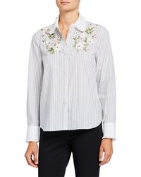 Kate Spade Striped Floral Embroidered Button-down Shirt - White