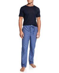 Neiman Marcus Men's Boxed Pajama Set - Blue
