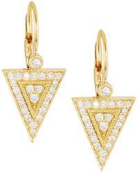Penny Preville - 18k Gold Diamond Medium Triangle Drop Earrings - Lyst