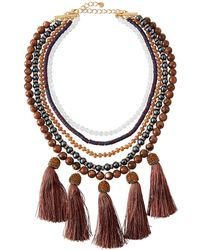 Lydell NYC - Beaded Multi-drop Necklace - Lyst