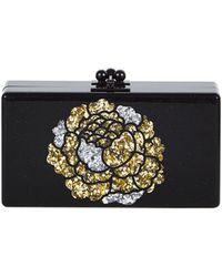 Edie Parker - Jean Metallic Flower Acrylic Clutch Bag Obsidian Sand - Lyst