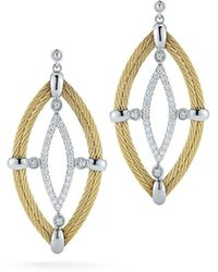 Alor - 18k Diamond & Cable Marquise Drop Earrings - Lyst