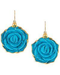 Devon Leigh - Turquoise Flower Drop Earrings - Lyst