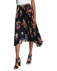 Kate Spade Rare Roses Pleated Asymmetric Midi Skirt - Black