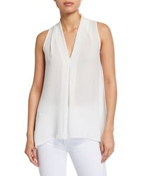Neiman Marcus Sleeveless V-neck Top W/ Inverted Pleat - White