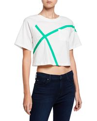EVIDNT Striped Boxy Cropped Tee - White
