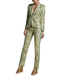 Anya Maj Drapana Silk Jacquard Tapered Pants - Green