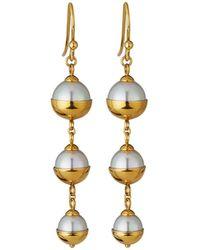 Majorica - Graduated Triple-pearl Dangle Earrings - Lyst