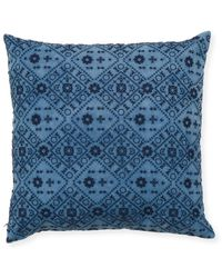 Magaschoni Embroidered Denim-finish Pillow 18 - Blue