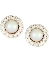 Majorica Pearl & Cubic Zirconia Halo Stud Earrings - White