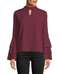 Haute Rogue - Stacy Ruffle-sleeve Keyhole Blouse - Lyst
