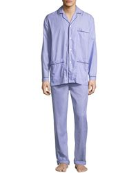 Neiman Marcus Men's Two-piece Contrast-piped Pajama Set - Blue