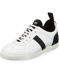 9d43b3b3aa7 Lanvin Men's Reflective Two-tone Leather Low-top Sneakers in White ...