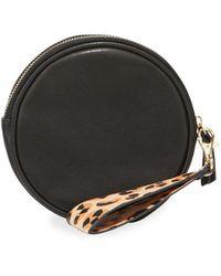 Neiman Marcus Faux-leather Round Wristlet Belt Bag - Black