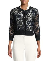Karl Lagerfeld - Pearlescent-button Cropped Lace Cardigan - Lyst