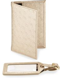 Neiman Marcus - Ostrich-embossed Passport And Luggage Tag Set - Lyst