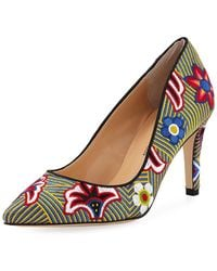 Neiman Marcus - Agostina Floral-embroidered Pumps - Lyst