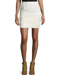 Belstaff | Lace and Leather-Trimmed Mini Skirt | Lyst