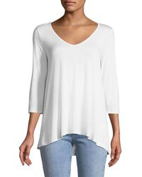Three Dots - 3/4-sleeve Soft V-neck Tee - Lyst