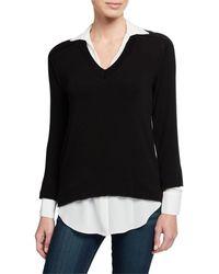 Bailey 44 Grand Duke Twofer Sweater Top - Black