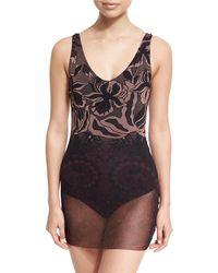 Fuzzi Floral Print Tulle Overlay One-piece Swimdress Black