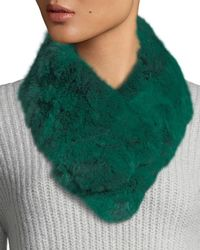 Adrienne Landau - Snood Rabbit Fur Clip Scarf - Lyst