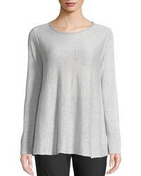 Lafayette 148 New York - Wispy Linen-blend Bateau-neck Sweater Silver - Lyst