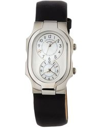 Philip Stein - Signature Small Dual Time Zone Watch Black - Lyst