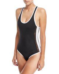 BLANC NOIR - Jersey Colorblock Bodysuit - Lyst