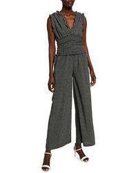 Max Studio Smocked Waist Polka-dot Wide-leg Jumpsuit - Black