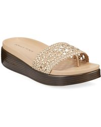 Donald J Pliner Woven Metallic Low-platform Sandals - Multicolour