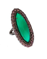 Bavna - Silver Marquise Ring With Green Onyx Pink Tourmaline & Diamonds Size 7 - Lyst