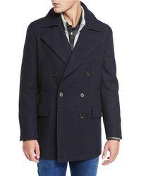 Neiman Marcus - Plaid Wool Pea Coat - Lyst