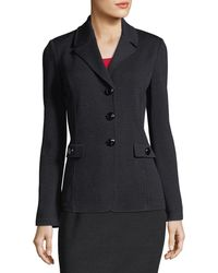 St. John Santana Knit Blazer W/ Pocket Flap Detail - Black