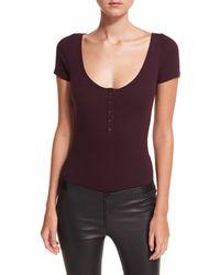 Rebecca Minkoff - Parsnip Short-sleeve Ribbed Henley Bodysuit - Lyst