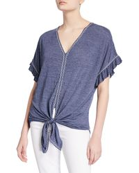 Max Studio V-neck Tie-front Ruffle-sleeve Top - Blue