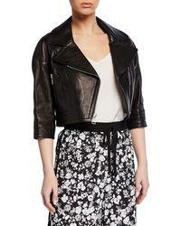 Yigal Azrouël Lamb Leather Cropped Moto Jacket - Black
