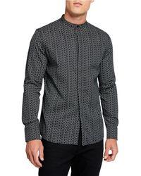 Karl Lagerfeld Men's Allover Logo-print Mandarin-collar Sport Shirt - Black