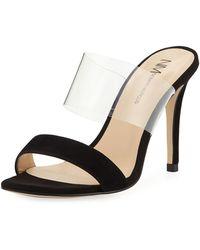 c63923bea94 Neiman Marcus - Disco Transparent-strap Sandals - Lyst