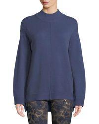 Neiman Marcus Mock-neck Seamed Sweater - Blue