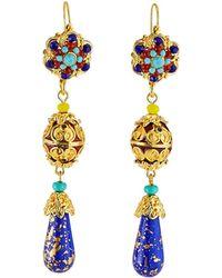 Jose & Maria Barrera - Cloisonne Linear Teardrop Earrings - Lyst