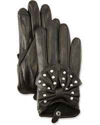 Neiman Marcus Embellished Short Leather Tech Gloves - Black