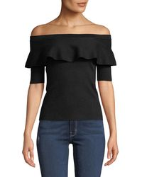 Minnie Rose - Off-the-shoulder Ruffle Blouse - Lyst