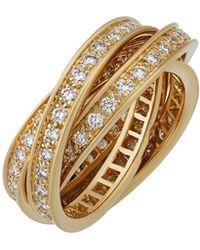 Cartier - 18k Trinity De Pavé Diamond Ring - Lyst
