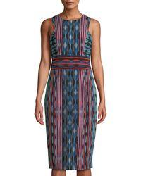 Maggy London - Jewel-neck Striped Midi Sheath Dress - Lyst