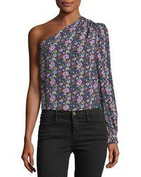 FRAME - One-shoulder Floral-print Top - Lyst