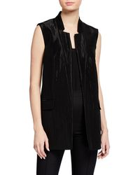 Michael Kors Jacquard Notch Collar Vest - Black
