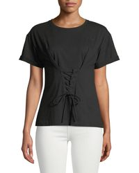 Laundry by Shelli Segal - Corset-front Short-sleeve Tee - Lyst