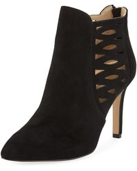 Adrienne Vittadini - Nelie Cutout Suede Booties - Lyst