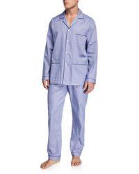 Neiman Marcus Men's Plaid Luxurious Cotton Pajama Set - Blue